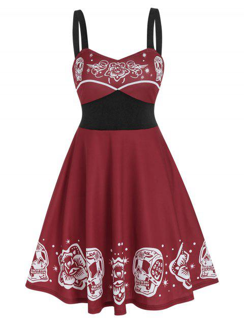 Floral Skull Print Empire Waist Gothic Cami Dress
