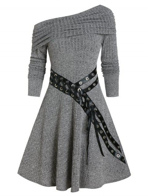 One Shoulder Belted Knitted A Line Dress