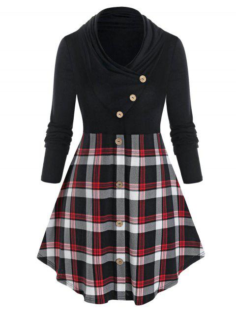 Plus Size Plaid Mock Button Long Sleeves Tunic Tee
