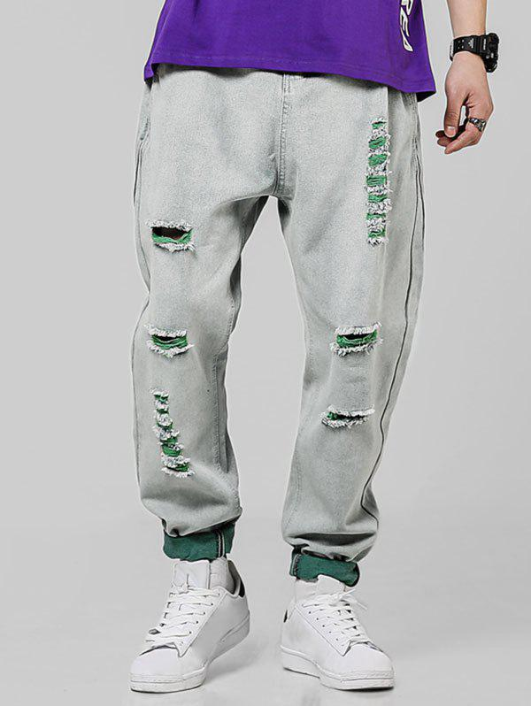 Contrast Ripped Casual Denim Pants - GREEN 2XL