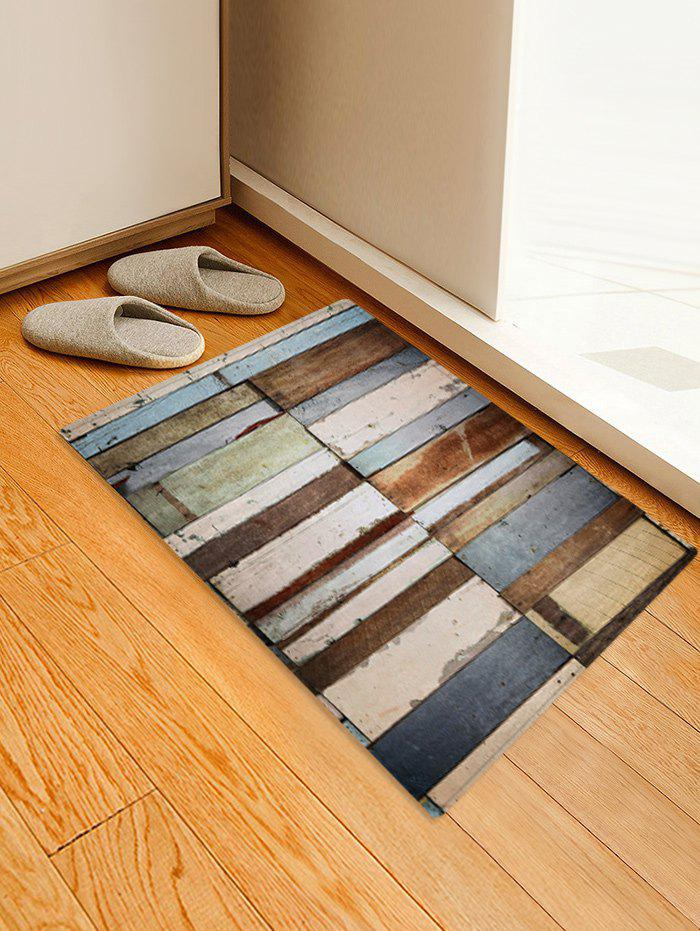 Colored Wood Plank Pattern Floor Mat - multicolor W16 X L24 INCH