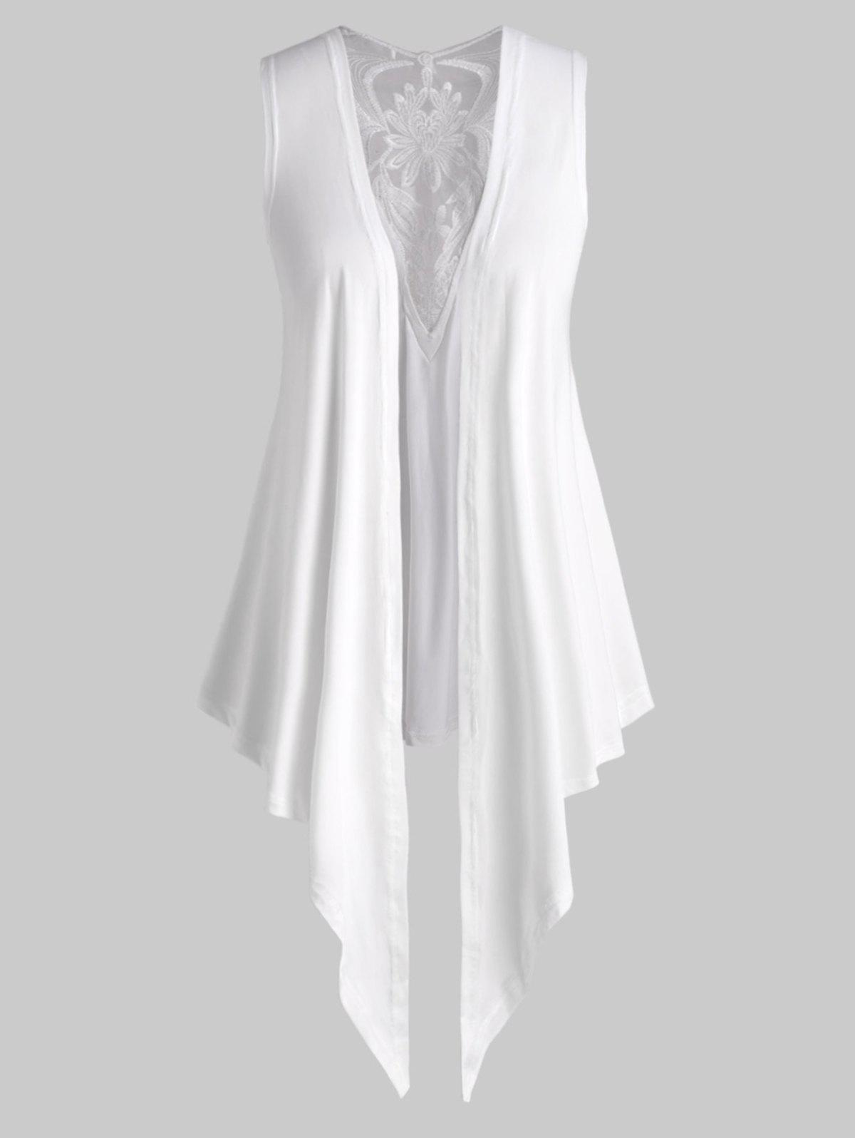 Embroidered Mesh Panel Open Front Plus Size Top - WHITE 5X
