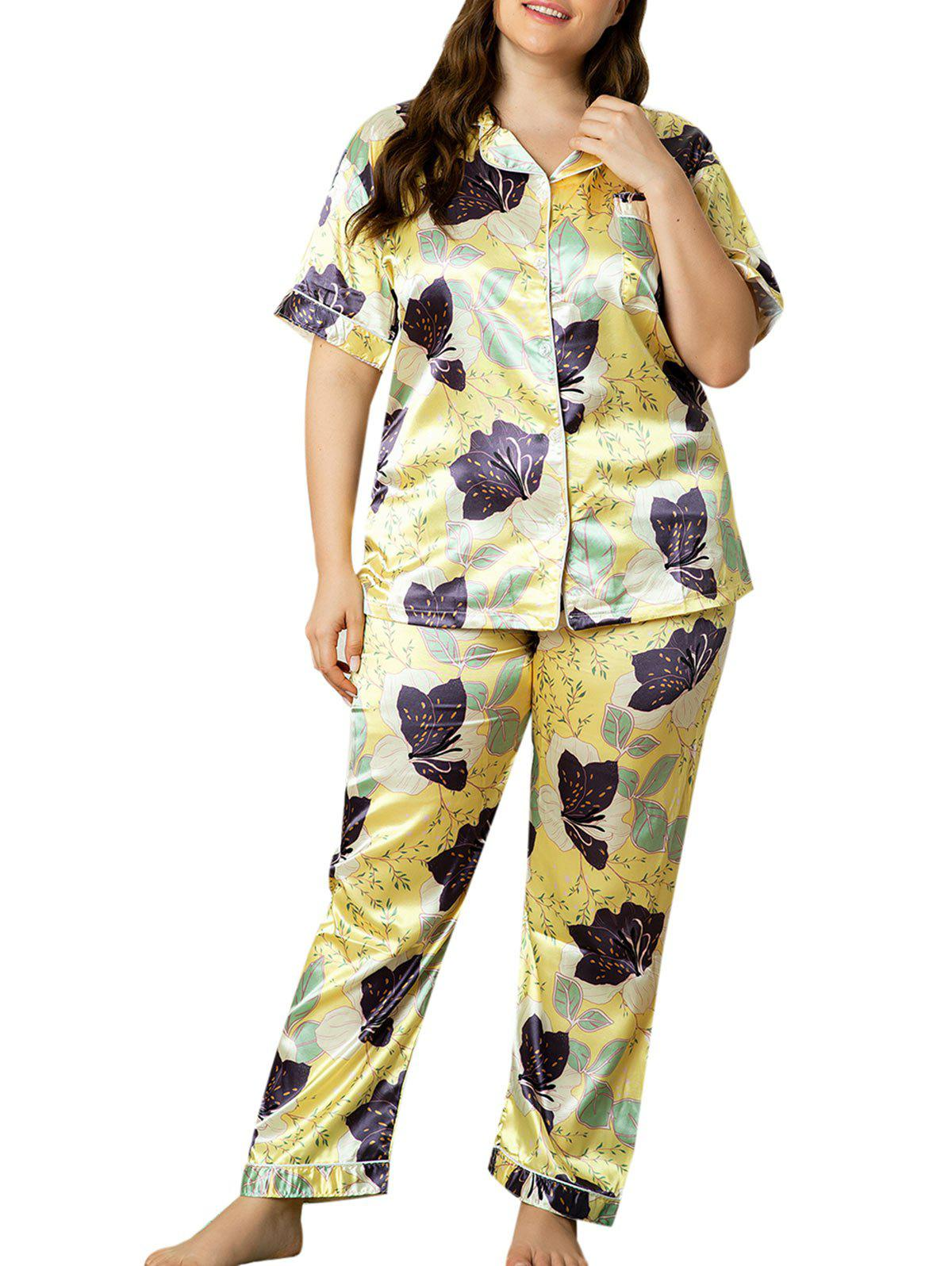 Floral Leaf Front Pocket Satin Plus Size PJ Set - LIGHT YELLOW 4XL