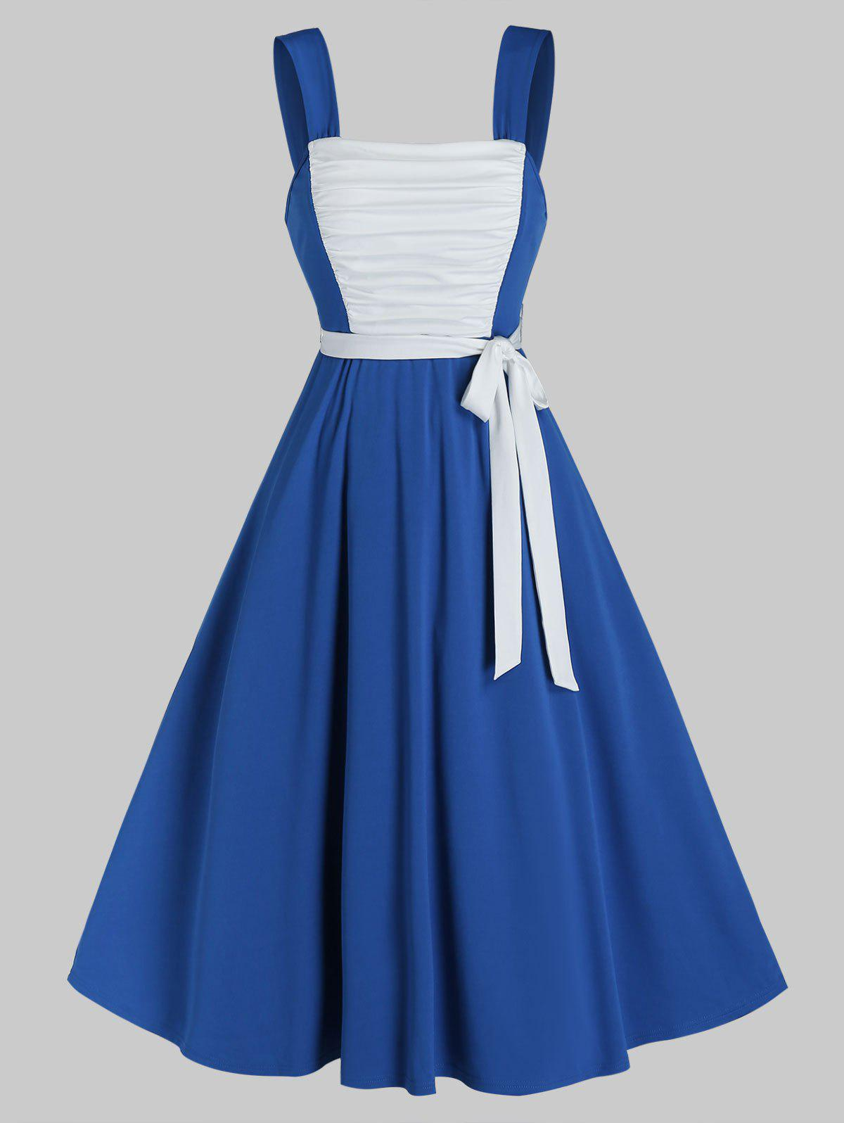 Sleeveless Ruched Front Belted Flare Dress - COBALT BLUE M