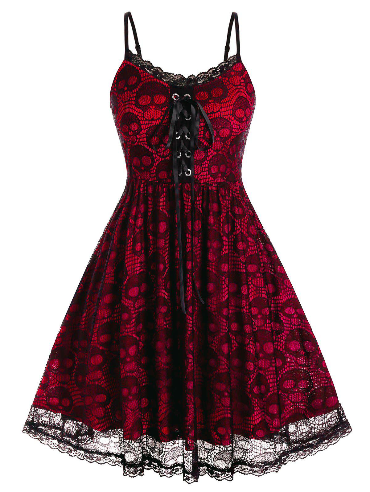 Plus Size Skull Lace Backless A Line Cami Dress - LAVA RED 5X