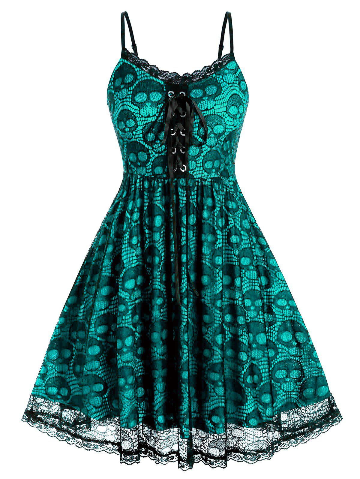 Plus Size Skull Lace Backless A Line Cami Dress - DARK TURQUOISE 1X