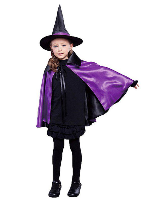 Halloween Costume Masquerade Children Witch Cape Hat Set - multicolor A
