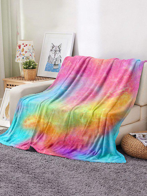Tie Dye Pattern Soft Flannel Blanket - multicolor W31.5 X L47 INCH