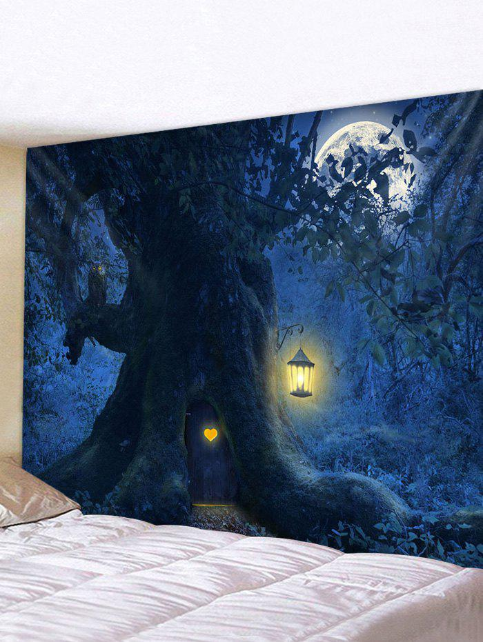 Halloween Night Tree Print Tapestry Wall Hanging Art Decor - multicolor W91 X L71 INCH