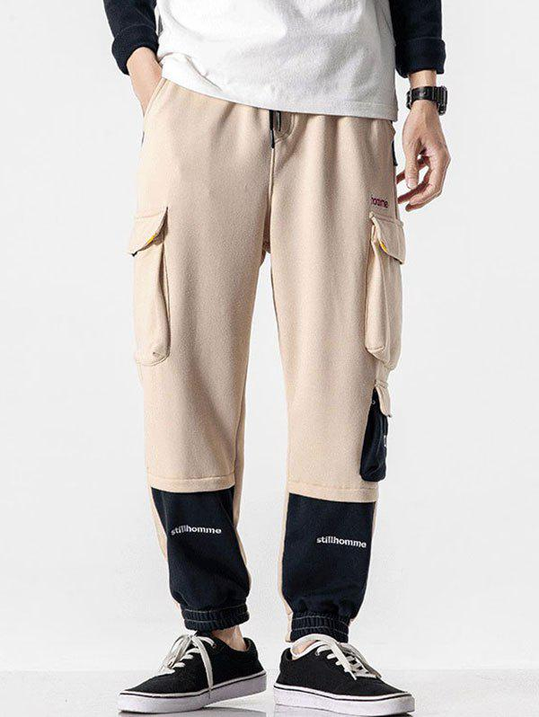 Letter Print Contrast Color Pockets Cargo Pants - LIGHT COFFEE 2XL