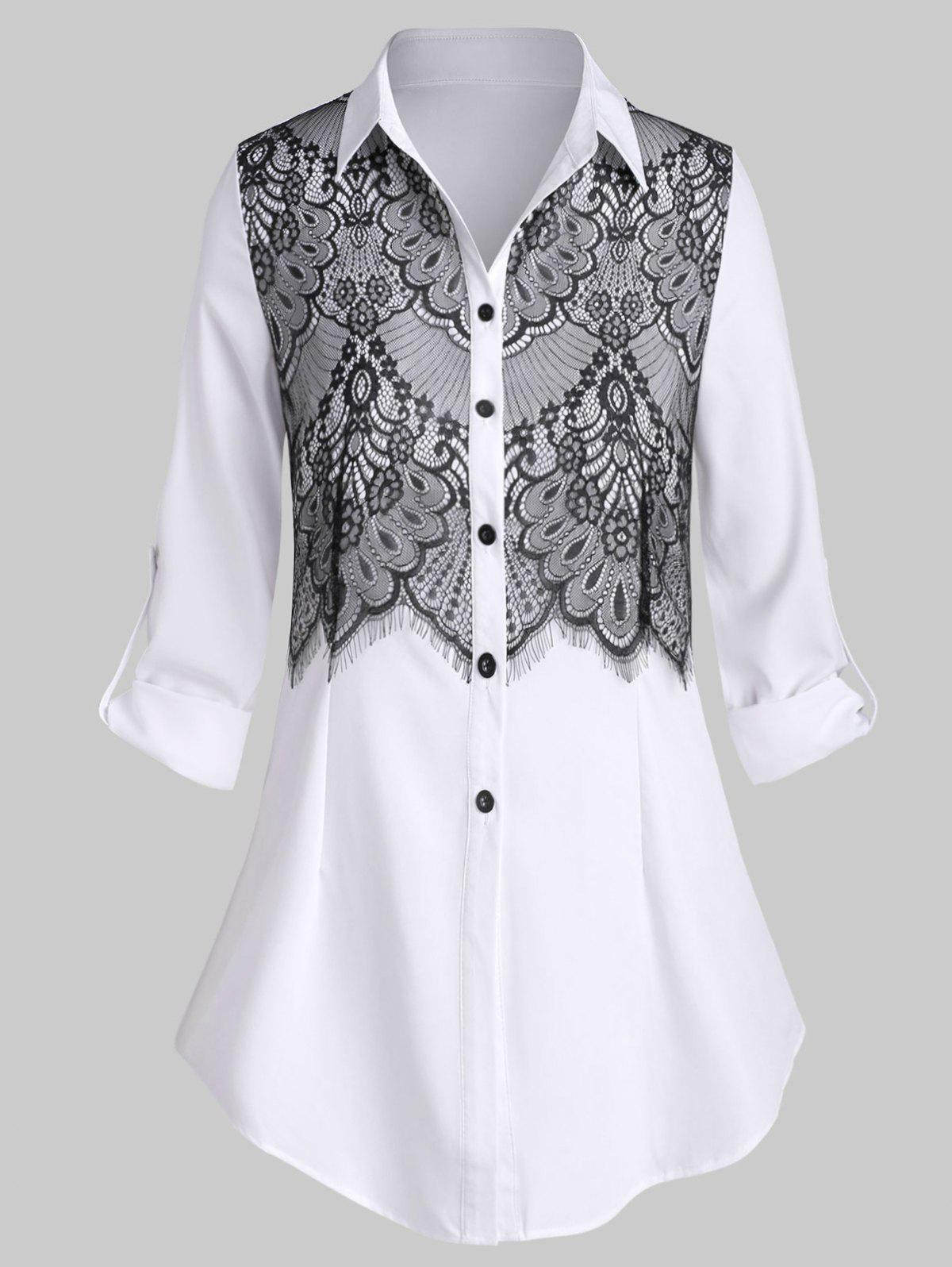 Plus Size Lace Insert Shirt - WHITE L