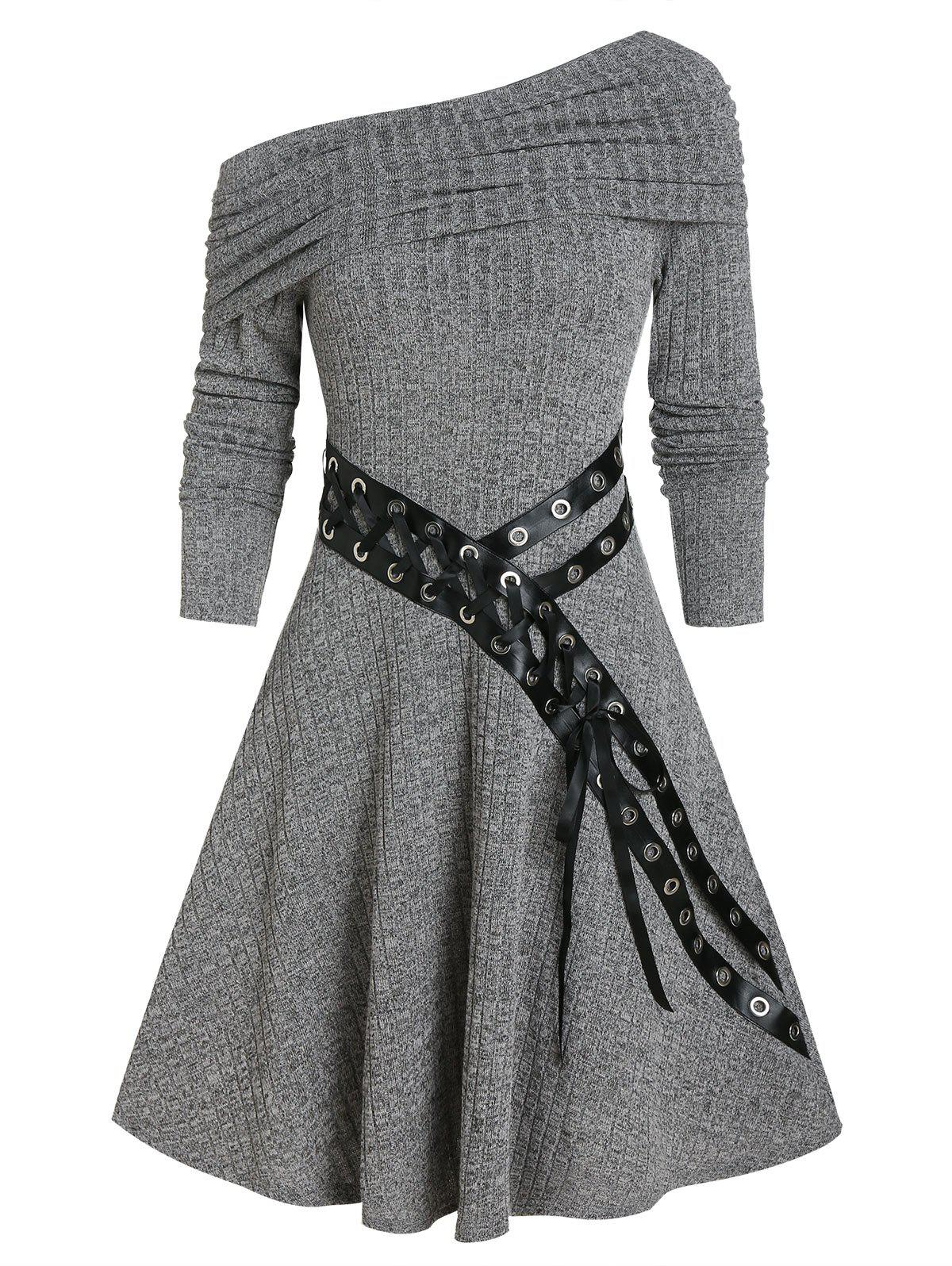 One Shoulder Belted Knitted A Line Dress - DARK GRAY 2XL