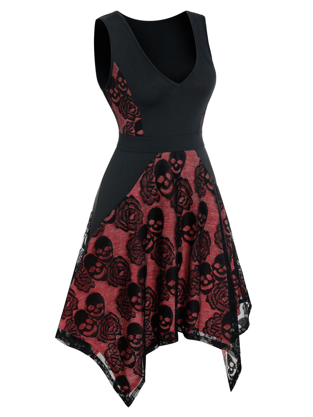 Floral Skull Lace Asymmetrical Sleeveless Dress - multicolor A L
