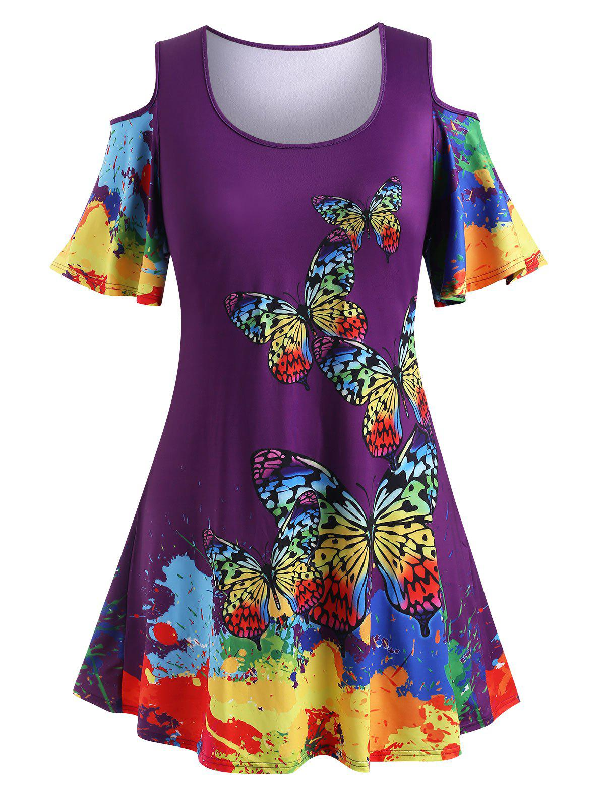 Plus Size Cold Shoulder Rainbow Butterfly Print T Shirt - CONCORD 1X