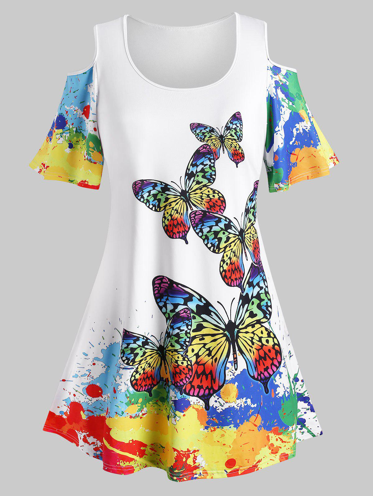 Plus Size Cold Shoulder Rainbow Butterfly Print T Shirt - WHITE 5X