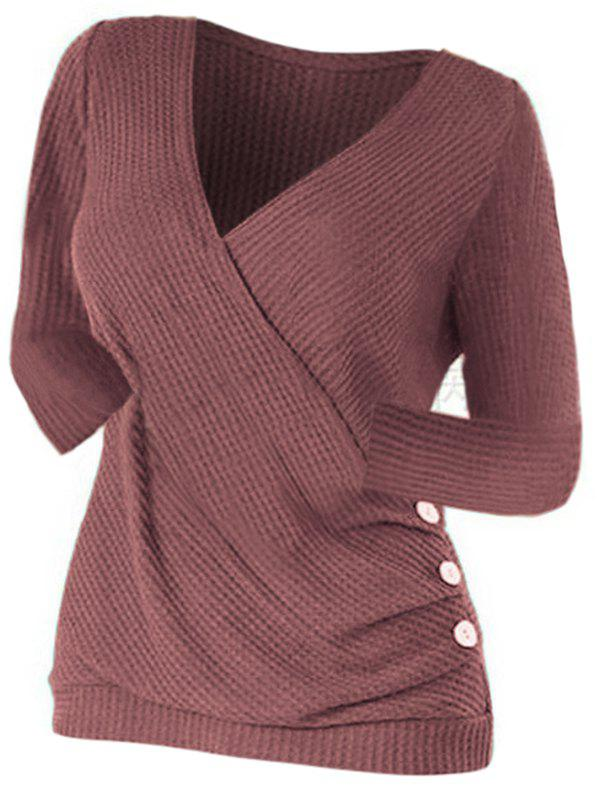 Ruched Buttoned Surplice Knitwear - DEEP RED 2XL