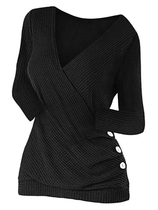 Ruched Buttoned Surplice Knitwear - BLACK XL