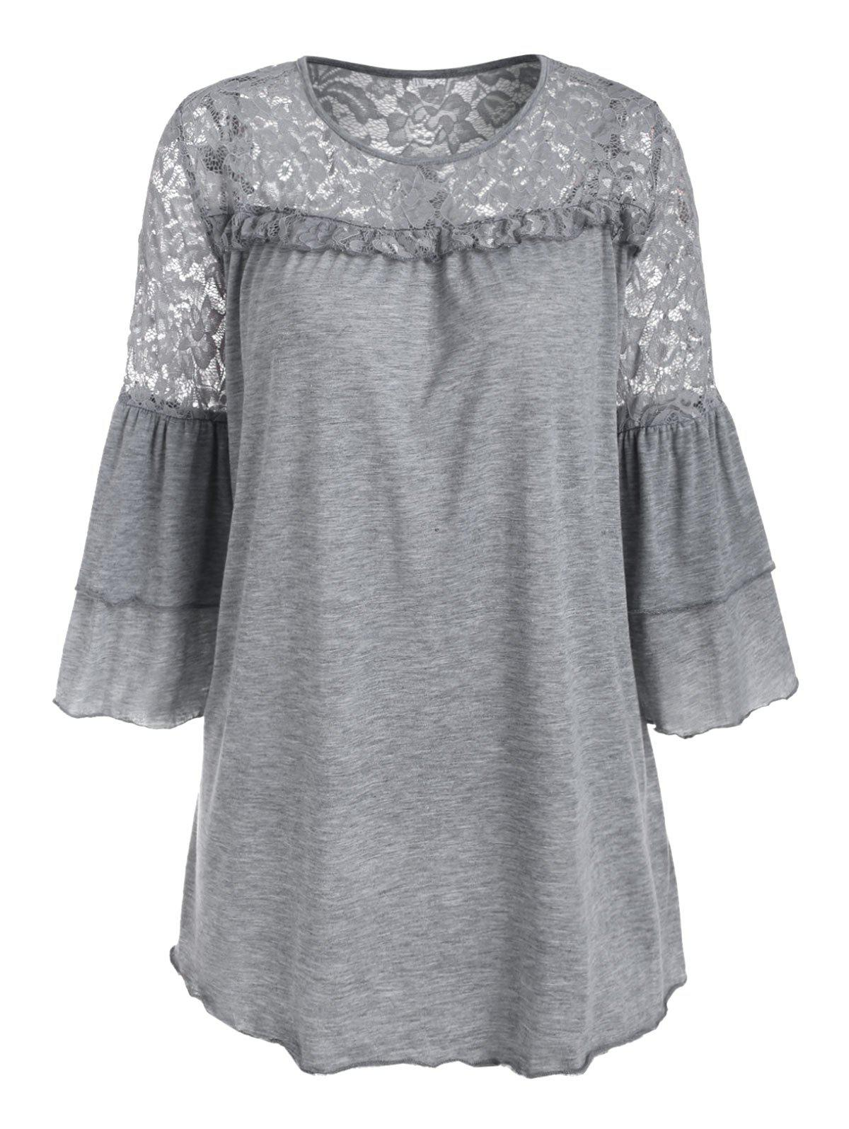Lace Panel Marled Lettuce Trim Layered Sleeve Plus Size Top - LIGHT GRAY 4XL