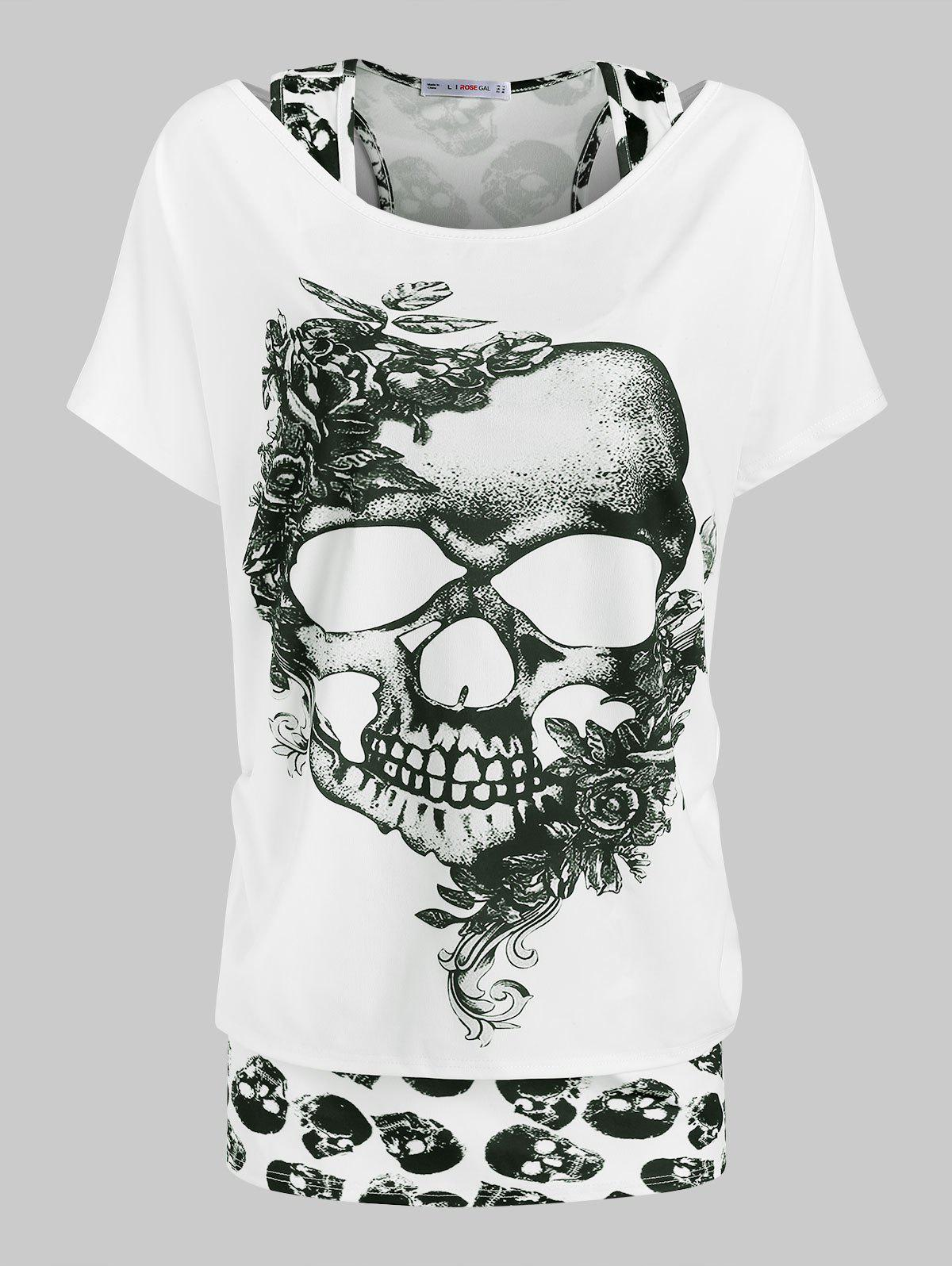Plus Size Halloween Floral Skull Print T-shirt and Tank Top Set - WHITE 2X
