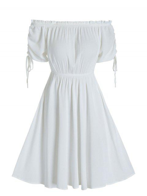 Ruched Off The Shoulder Ruffle A Line Dress