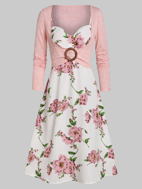 Floral Print O-ring Long Sleeve Two Piece Dress