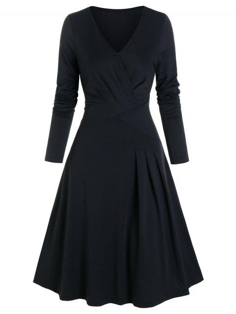 Solid Pleated Wrap A Line Dress