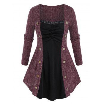Plus Size Button Embellished Lace Panel Ruched Knitwear