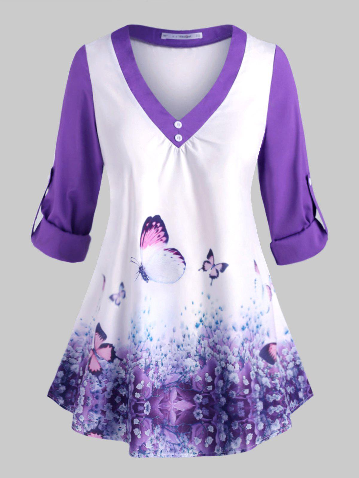 Plus Size Roll Up Sleeve Butterfly Print Top - PURPLE 5X