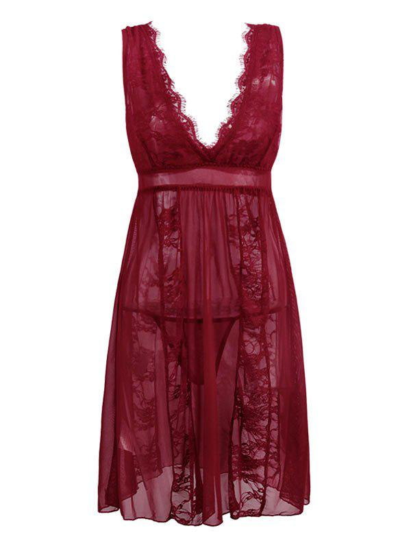 Plus Size Lace Panel Sheer Lingerie Dress - DEEP RED 6XL