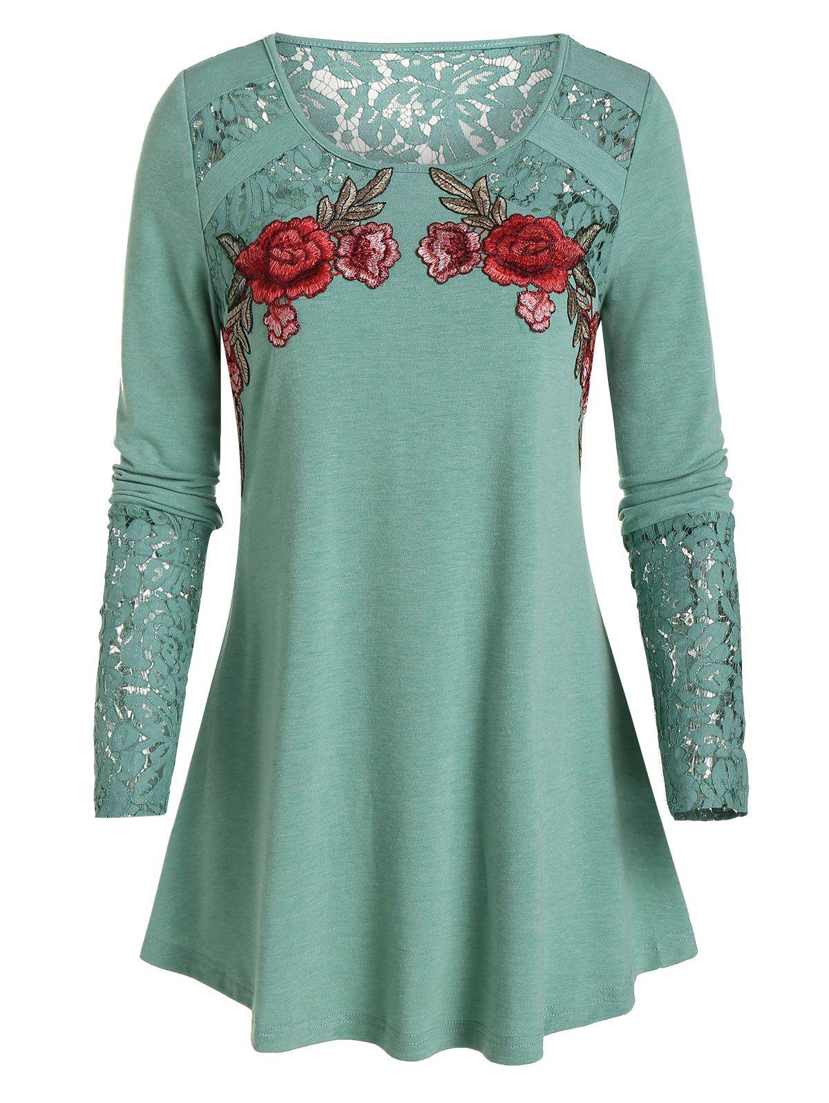 Floral Embroidery Lace Patchwork T-shirt - SEA GREEN L