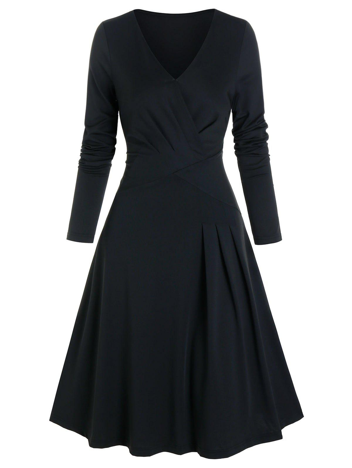Solid Pleated Wrap A Line Dress - BLACK M