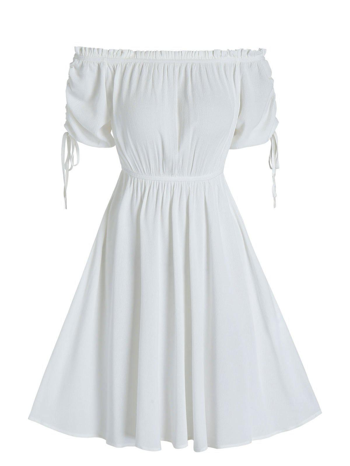 Ruched Off The Shoulder Ruffle A Line Dress - WHITE M