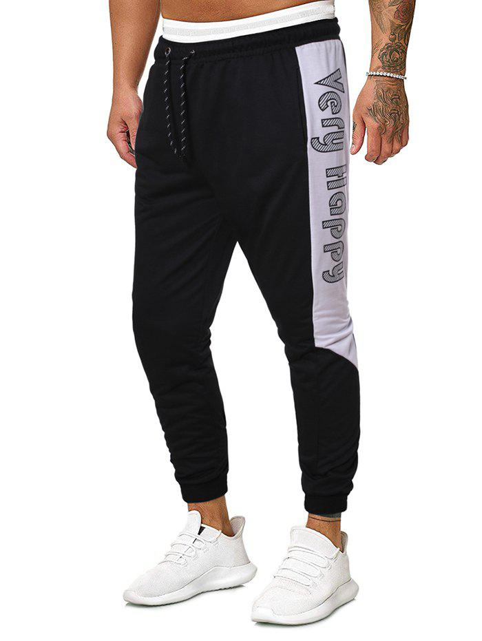 Letter Graphic Bicolor Drawstring Beam Feet Pants - BLACK 2XL