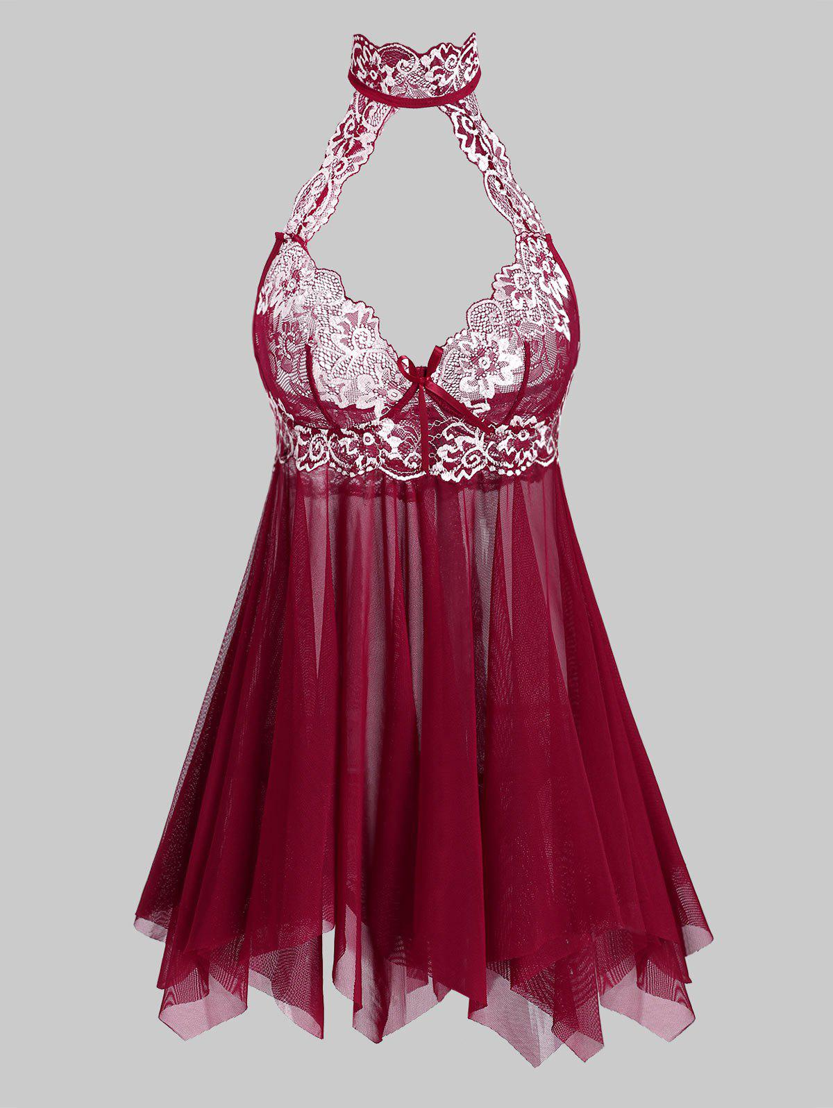 Lace Panel Cut Out Sheer Mesh Plus Size Lingerie Babydoll - RED L