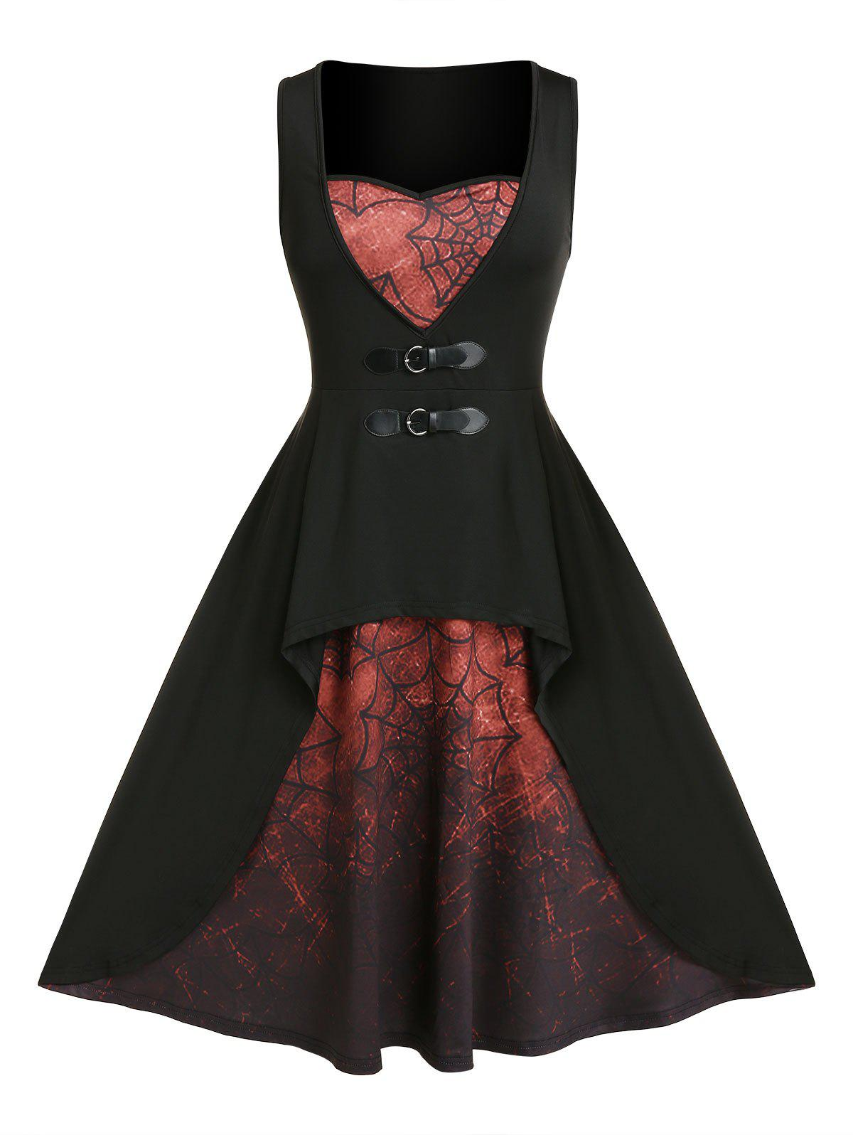 Plus Size Spider Web Print Buckle Dress - RED WINE 1X