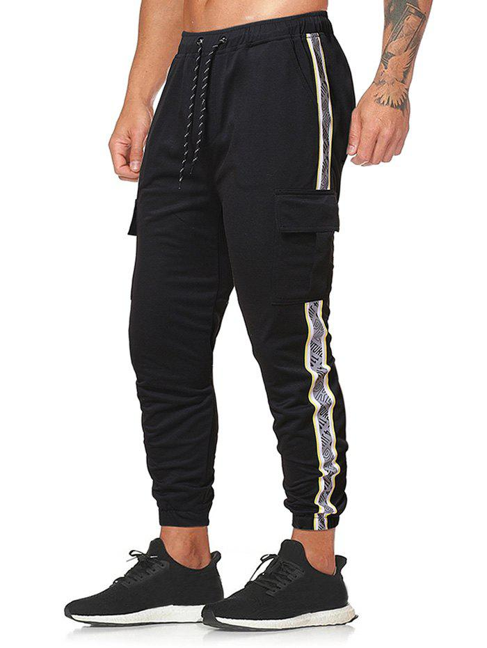 Side Reflective Letter Print Casual Beam Feet Pants - BLACK 2XL