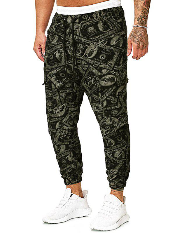 Paper Money Print Drawstring Pencil Pants - CAMOUFLAGE GREEN 2XL