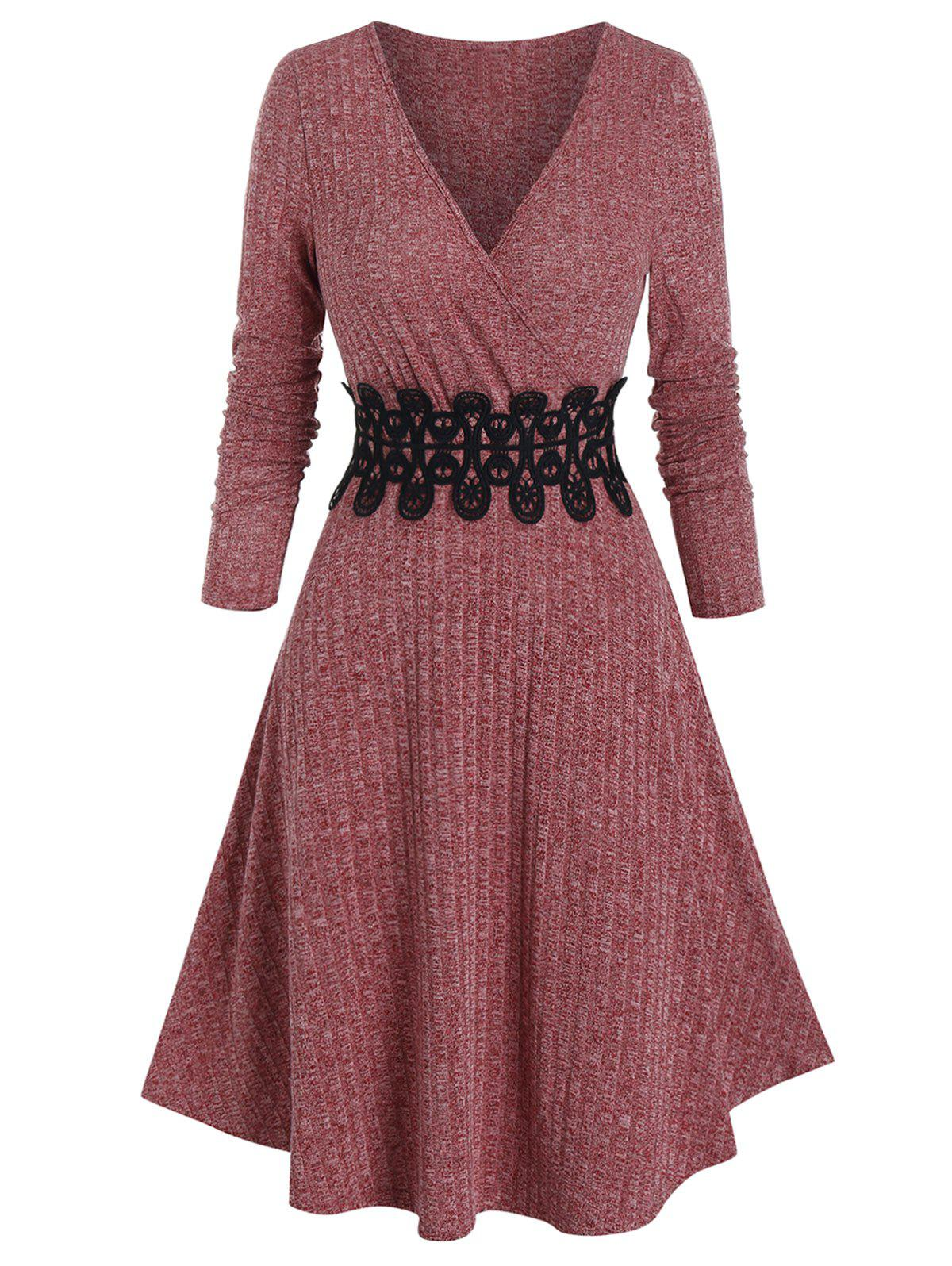 Waist Applique Ribbed V Neck Wrap Dress - DEEP RED 2XL