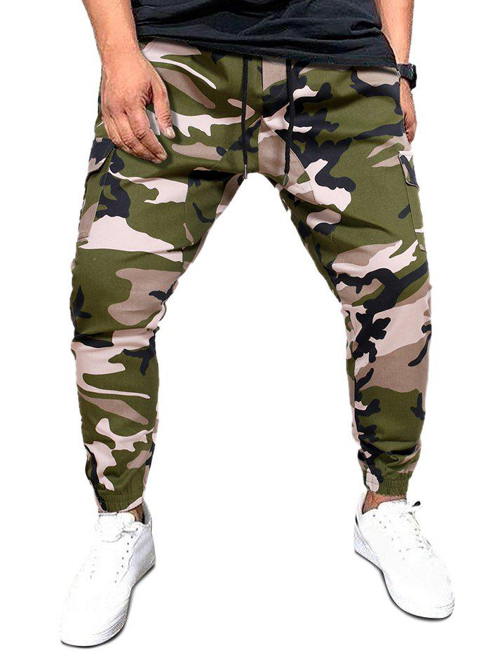 Camo Print Flap Pockets Casual Cargo Pants - CAMOUFLAGE GREEN 2XL