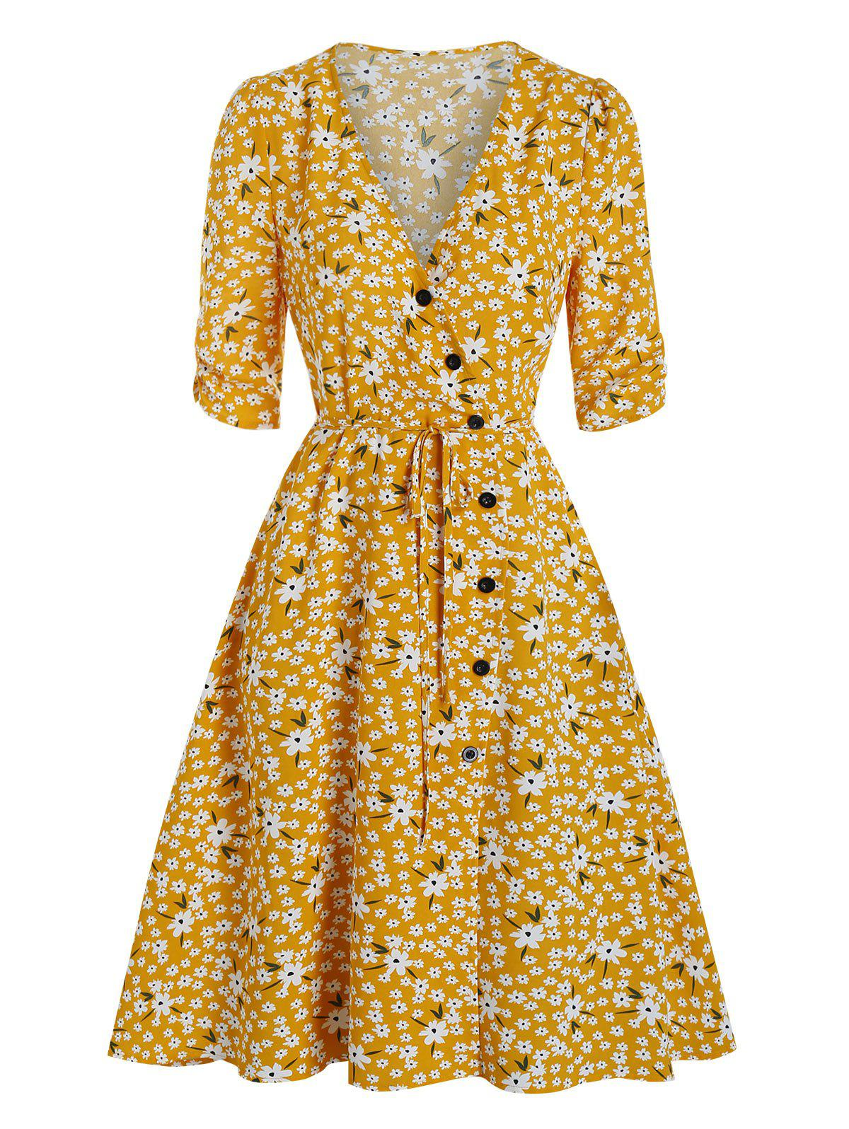 Floral Print Mock Button Wrap Dress - GOLDEN BROWN 3XL