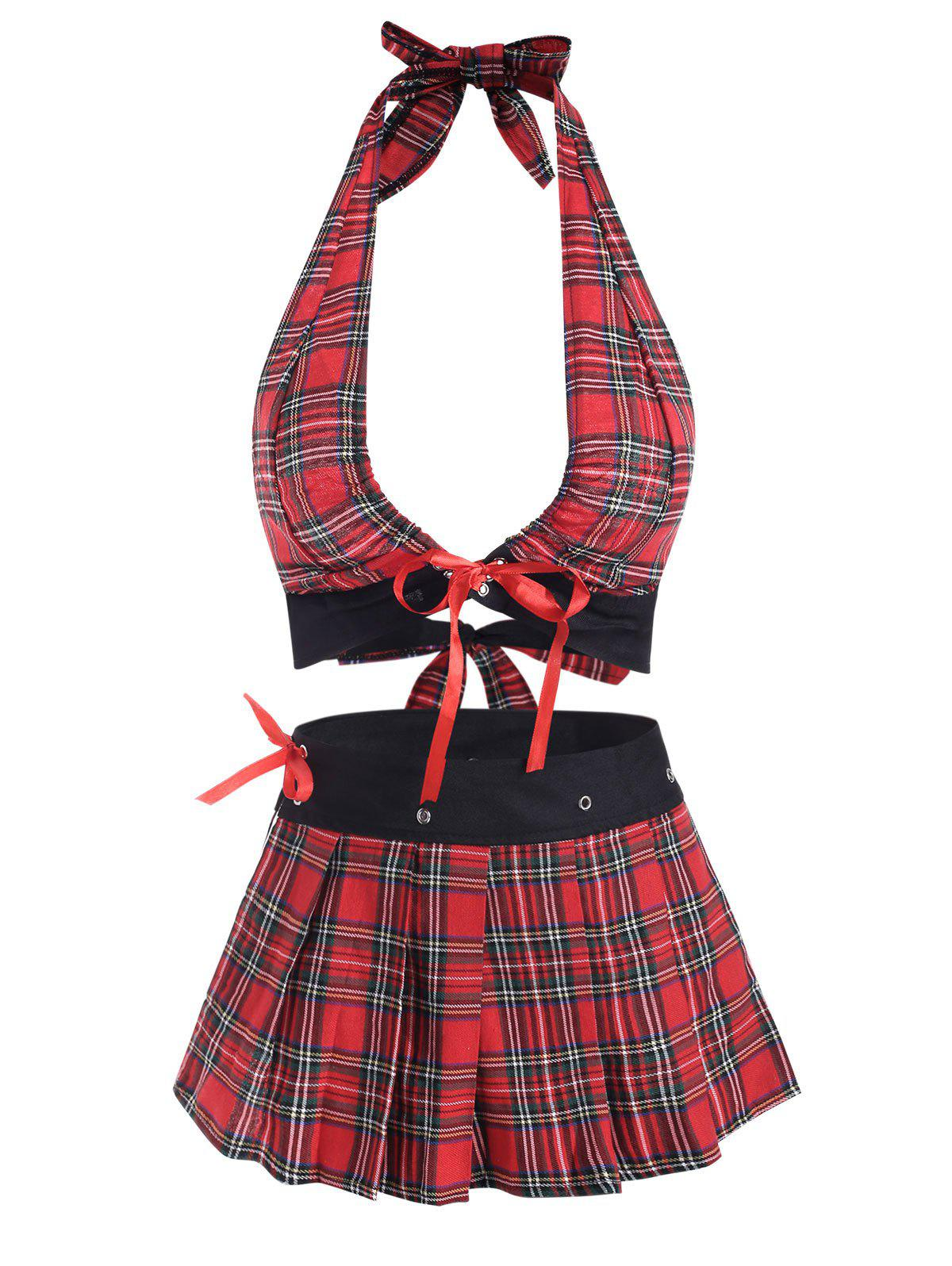 Tartan Plaid Lace Up Tie Back Plus Size Lingerie Set - RED XL