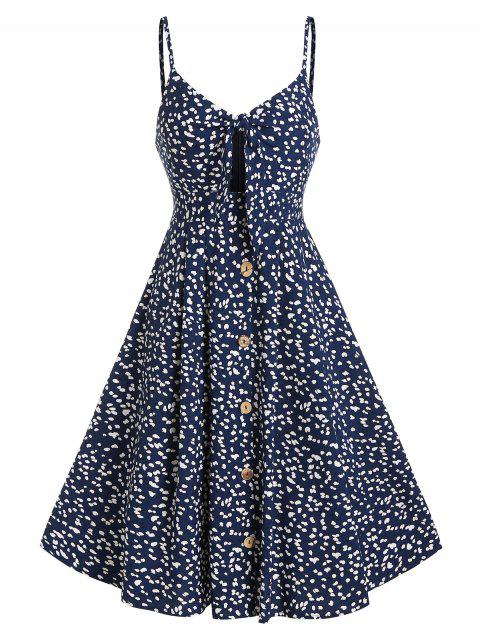 Tiny Floral Print Spaghetti Strap Knotted Dress