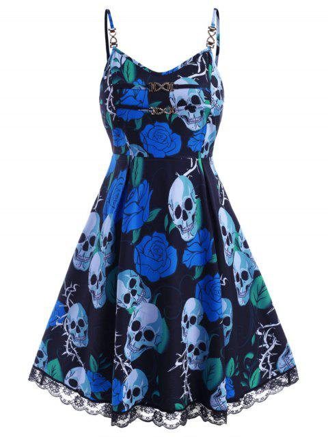 Floral Skull Chains Lace Trim Halloween Plus Size Dress