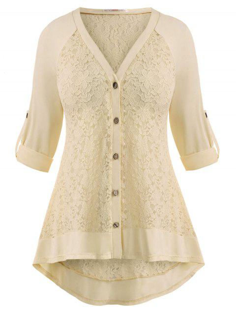 Lace Panel Button Up Raglan Sleeve Plus Size Top