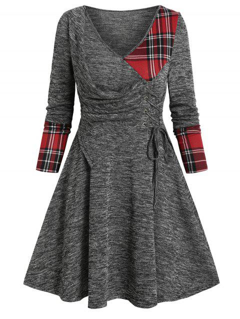 V Neck Checked Insert  Lace Up Mini Knitted Dress