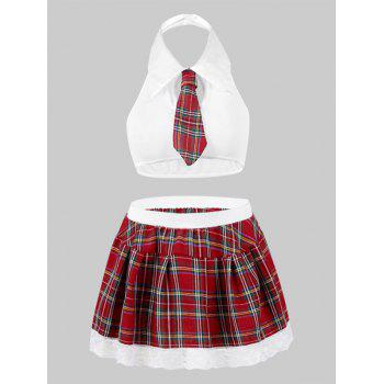 Halter Plaid Bow-tie Plus Size Lingerie Costume