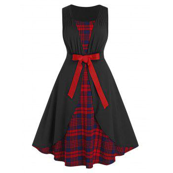 Plus Size 2 In 1 Plaid Ruched Dress
