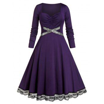 Plus Size Sequined Lace Insert Ruched Midi Dress