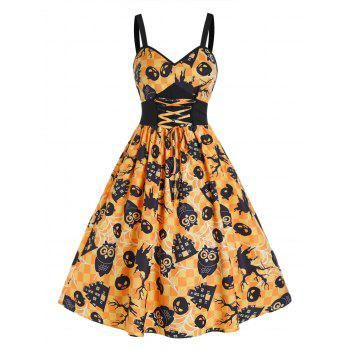 Halloween Pumpkin Plaid Print Tie Waist Cami Dress