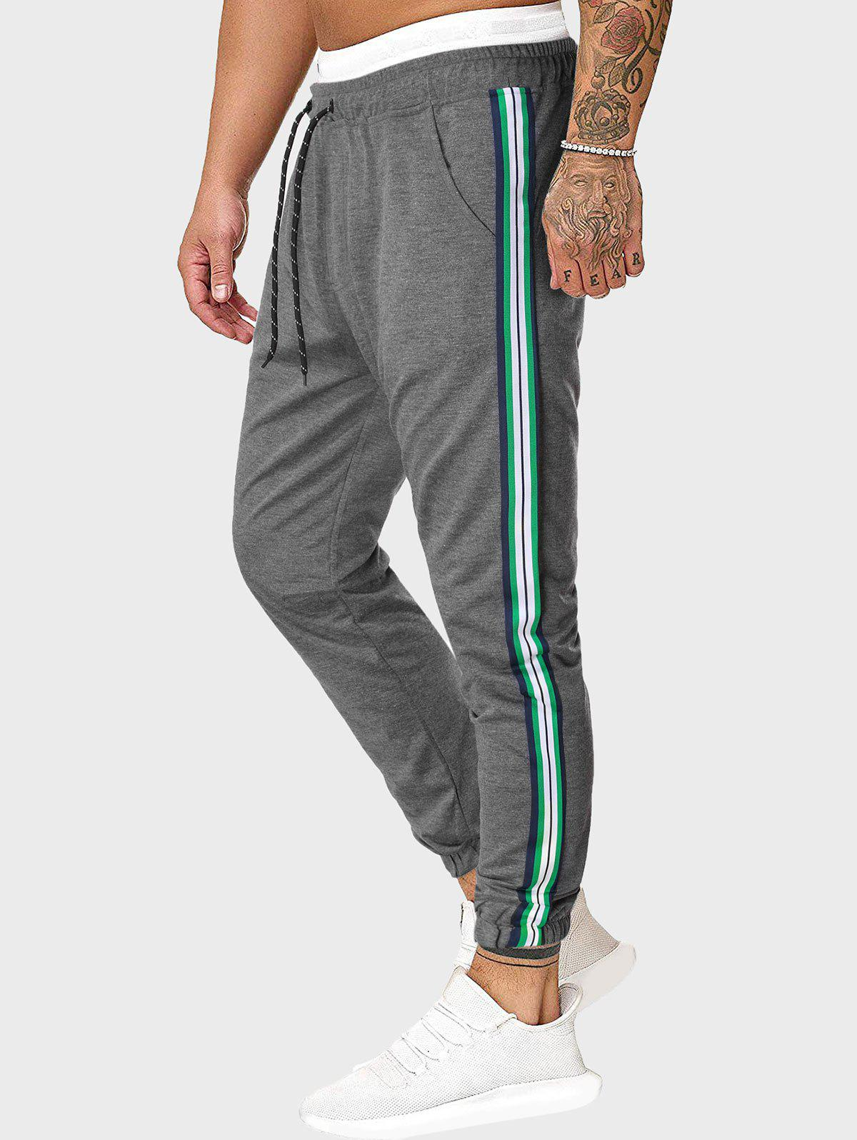 Drawstring Side Striped Tapered Sports Pants - GRAY L